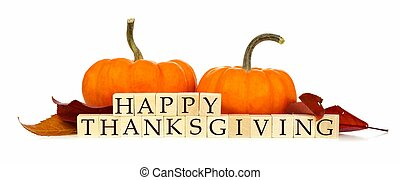 Happy Thanksgiving wooden blocks with pumpkins on white