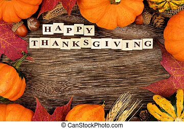 Happy Thanksgiving wooden blocks with autumn frame - Happy...