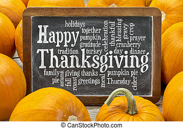 Happy Thanksgiving word cloud on a vintage slate blackboard...