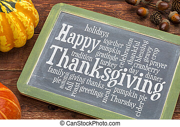 Happy Thanksgiving word cloud on blackboard