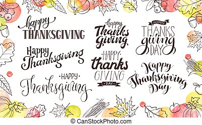 happy thanksgiving wording - Thanksgiving wording isolated ...