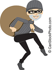 Happy Thief Sneaking - Happy thief sneaking carrying a huge...