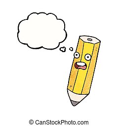 happy thought bubble textured cartoon pencil - happy...