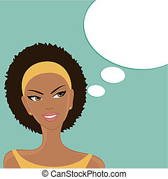 Vector illustration of a beautiful smiling Afro-American girl with a blank thought/speech bubble on blue background.