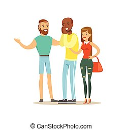 Happy Three Best Friends Having Good Time Together, Part Of Friendship Illustration Series
