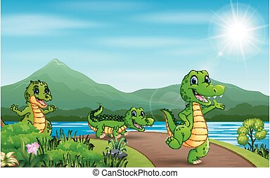 Happy three crocodiles walking on the road