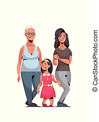 happy three generations family celebrating women international 8 march day concept female characters full length vertical