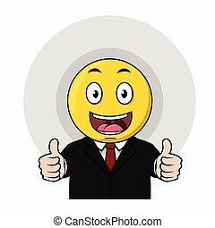 Happy thumb up emoticon