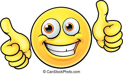 Happy Thumbs Up Emoji Emoticon - An illustration of a happy...