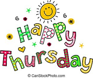 Happy Thursday Cartoon Text Clipart - Hand drawn and colored...