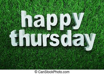 Happy Thursday made from concrete alphabet