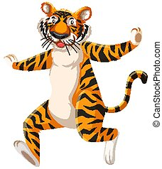 Happy tiger cartoon, character
