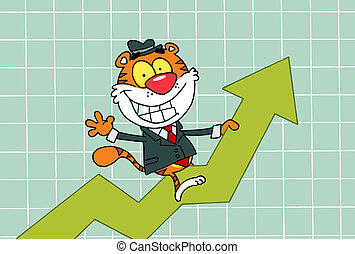 Happy Tiger Riding On Success
