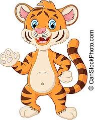 Happy tiger waving a hand - vector illustration of Happy...