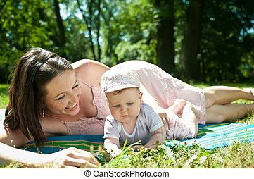 Happy time - mother with baby