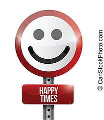happy times road sign illustration design