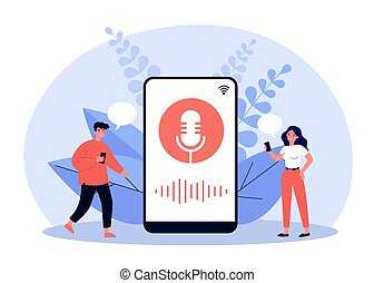 Happy tiny people using voice assistant isolated flat vector...