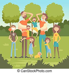 Happy tired parents with many children in the park flat vector illustration