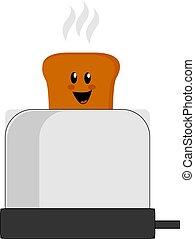 Happy toast bread, illustration, vector on white background.
