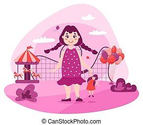 Happy toddler in amusement park. Baby girl in pink dress standing