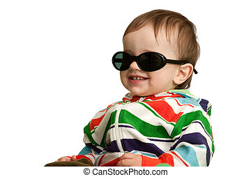 Happy toddler in glasses