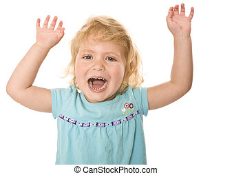 Happy toddler with arms up in the air