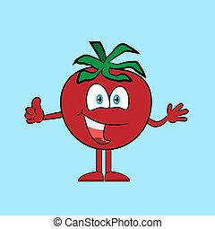 Happy tomato with thumb up