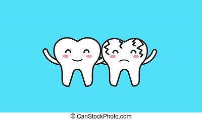 happy tooth and sick embraced characters hygiene animation...