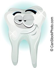 Happy Tooth Character Smiling - Illustration of a cartoon...