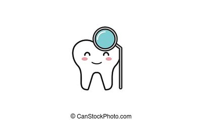 happy tooth character with hygiene tool animation hd