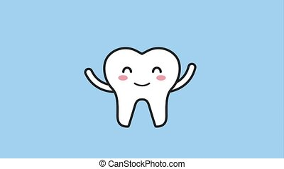 happy tooth waving hands cartoon character hygiene dental...