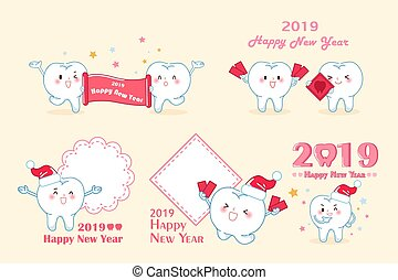 tooth with 2019 new year