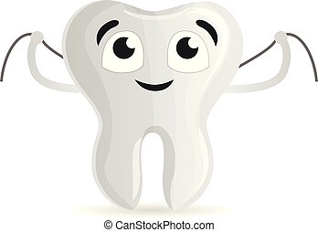 Happy tooth with floss icon, cartoon style