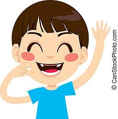 Happy Toothless Boy - Cute little boy happy holding fallen...