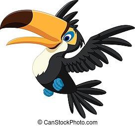 Happy toucan flying - Vector illustration of Happy toucan...