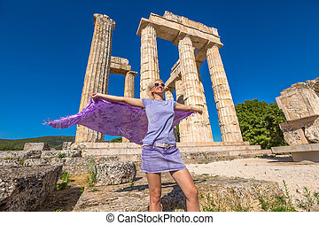 Happy tourist at Zeus Temple