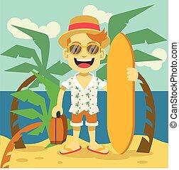 Happy tourist flat illustration