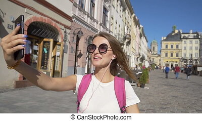 Happy Tourist Girl Having Video Chat