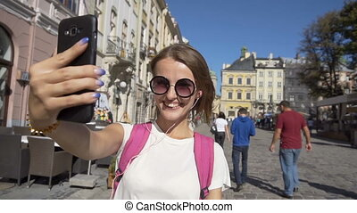 Happy Tourist Girl Taking Selfie