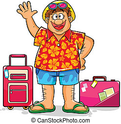 happy tourist - tourist in summer clothes ready to visit...