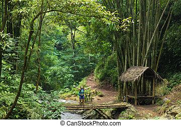 Happy tourist woman trekking in Bali jungle