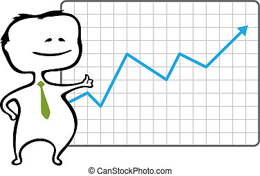 Happy trader and a chart with a rising blue arrow - vector illustration in cartoon style - The document can be scaled to any size without loss of quality.