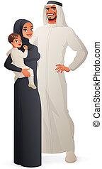 Happy traditional Arab family portrait. Vector illustration.