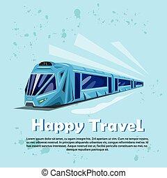 Happy Travel Banner Modern Train Transportation Tourism Flat...
