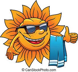 Happy tropical sun on a beach vacation