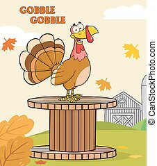Happy Turkey Bird Cartoon Character