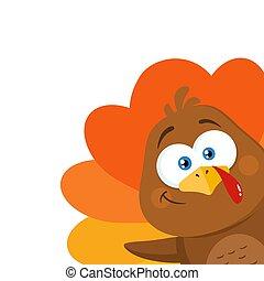 Happy Turkey Bird Cartoon Character Waving From A Corner