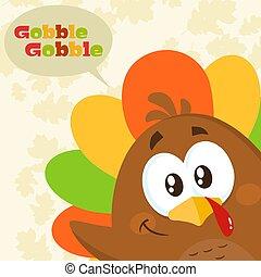 Happy Turkey Bird Cartoon Character Waving From A Corner.