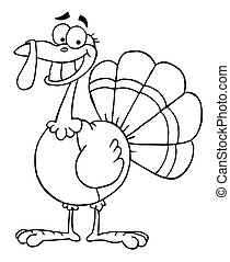 Happy Turkey Bird - Outlined Turkey Mascot Cartoon Character...