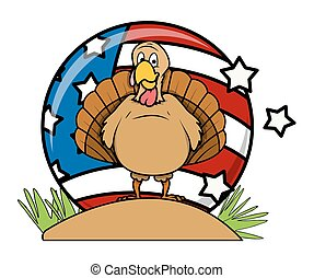 Happy Turkey Bird Vector Background - Cartoon Funny Turkey...